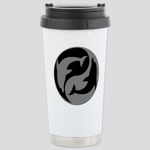 Grey And Black Yin Yang Dolphins Travel Mug