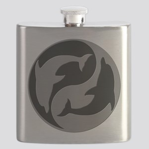 Grey And Black Yin Yang Dolphins Flask