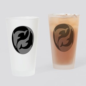 Grey And Black Yin Yang Dolphins Drinking Glass