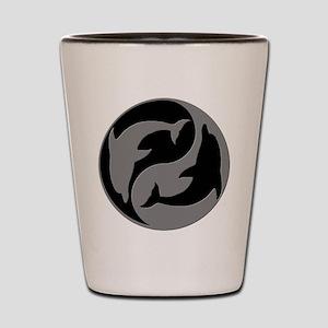 Grey And Black Yin Yang Dolphins Shot Glass