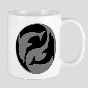 Grey And Black Yin Yang Dolphins Mugs