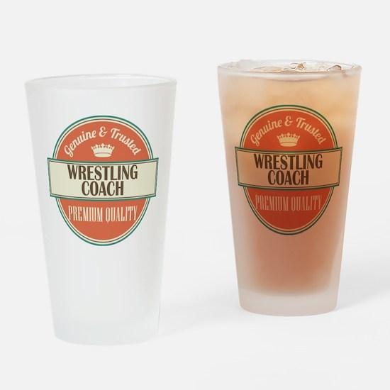 wrestling coach vintage logo Drinking Glass