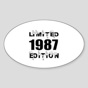 Limited 1987 Edition Birthday Desig Sticker (Oval)