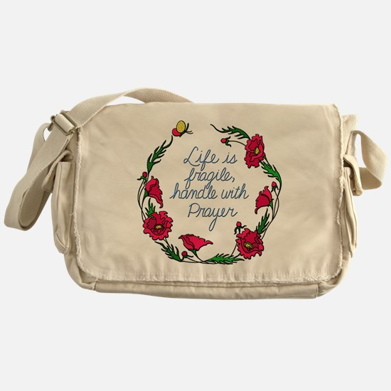 Flower Wreath QUOTE Handle with Pray Messenger Bag