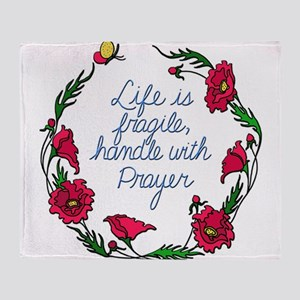 Flower Wreath QUOTE Handle with Pray Throw Blanket
