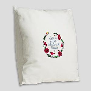 Flower Wreath QUOTE Handle wit Burlap Throw Pillow
