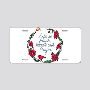 Flower Wreath QUOTE Handle Aluminum License Plate