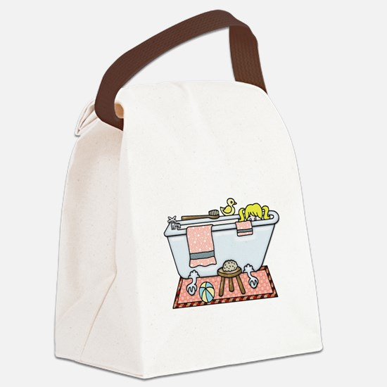 Little Girl Bubble Bath in Claw F Canvas Lunch Bag