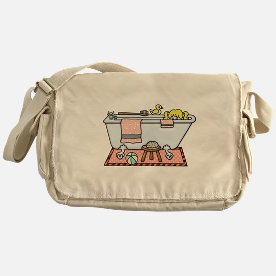 Little Girl Bubble Bath in Claw Foot Messenger Bag