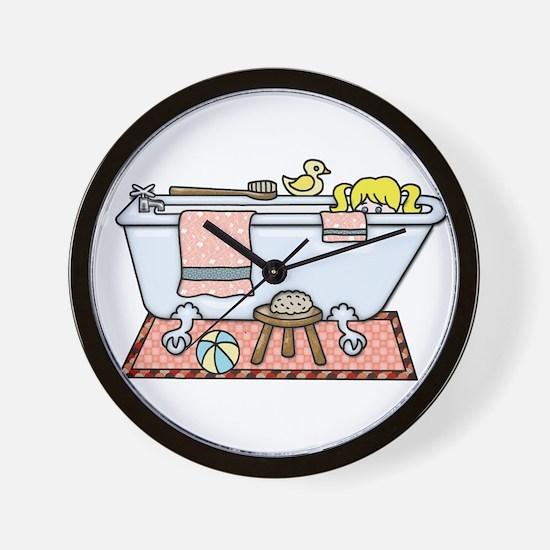 Little Girl Bubble Bath in Claw Foot Tu Wall Clock