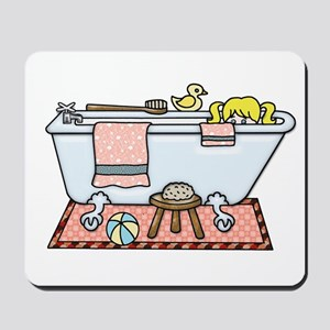 Little Girl Bubble Bath in Claw Foot Tub Mousepad