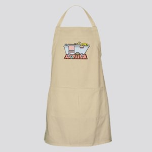 Little Girl Bubble Bath in Claw Foot Tub Apron