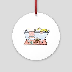 Little Girl Bubble Bath in Claw Foo Round Ornament