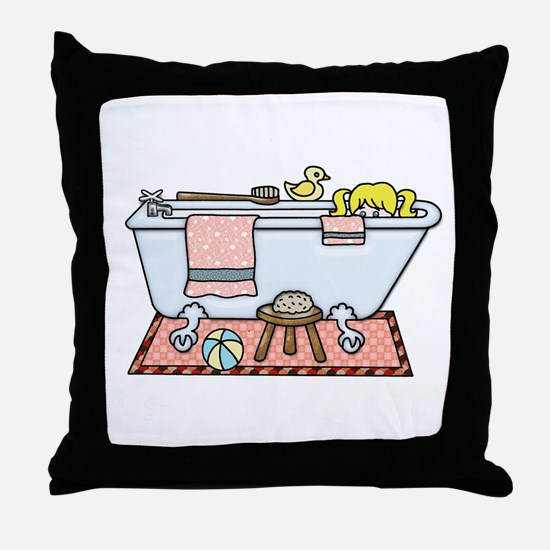 Little Girl Bubble Bath in Claw Foot Throw Pillow