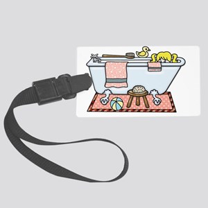 Little Girl Bubble Bath in Claw Large Luggage Tag