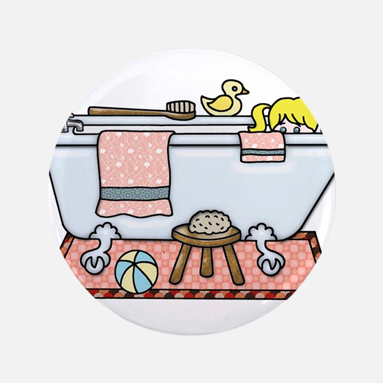 Little Girl Bubble Bath in Claw Foot Tub Button