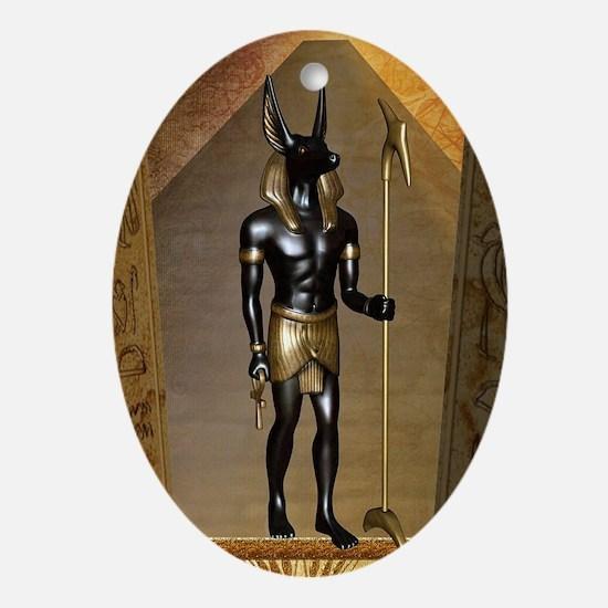 Anubis the egyptian god Oval Ornament