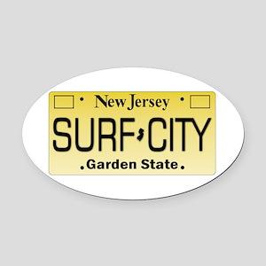 Surf City NJ Tag Giftware Oval Car Magnet