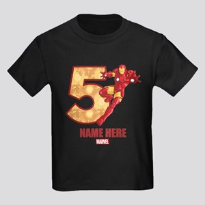 Personalized Iron Man Age 5 Kids Dark T-Shirt