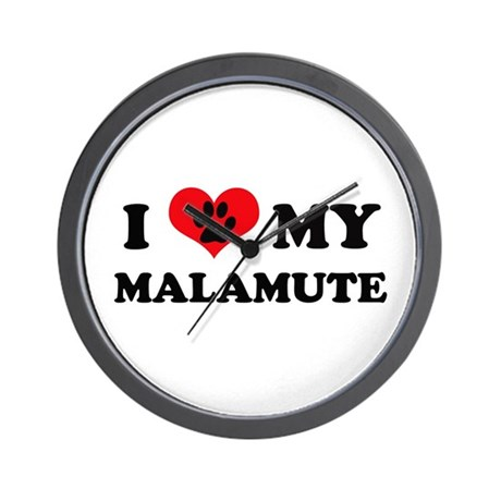 I Love My Malumute - Dog Bree Wall Clock