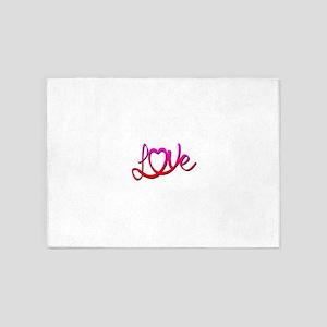 Whimsical Love Heart 5'x7'Area Rug