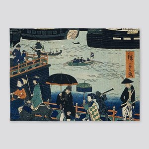 Ancient Ukiyo e Japanese Geisha 5'x7'Area Rug