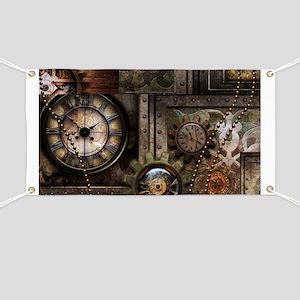 Steampunk, wonderful clockwork with gears Banner