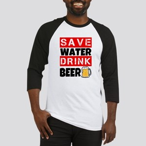 Save Water Drink Beer Funny men's Baseball Jersey