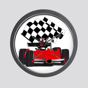 Red Race Car with Checkered Flag Wall Clock