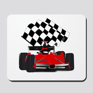 Red Race Car with Checkered Flag Mousepad