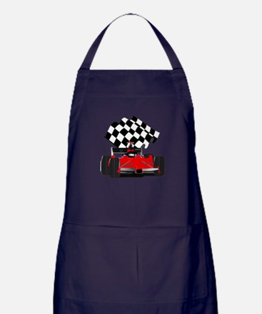 Red Race Car with Checkered Flag Apron (dark)