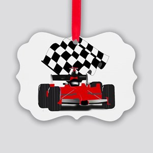 Red Race Car with Checkered Flag Picture Ornament