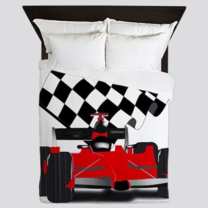 Red Race Car with Checkered Flag Queen Duvet