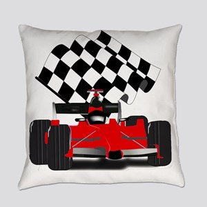 Red Race Car with Checkered Flag Everyday Pillow