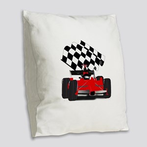 Red Race Car with Checkered Fl Burlap Throw Pillow