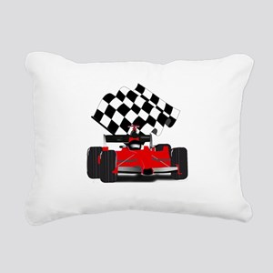 Red Race Car with Checke Rectangular Canvas Pillow