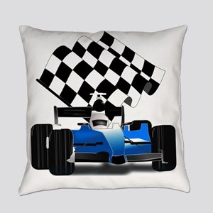 Blue Race Car with Checkered Flag Everyday Pillow