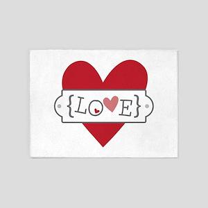 Love In Brackets 5'x7'Area Rug