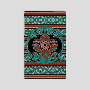 Tribal Turquoise Kokopelli Area Rug