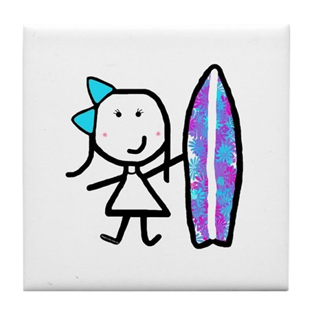 Girl & Surfboard Tile Coaster
