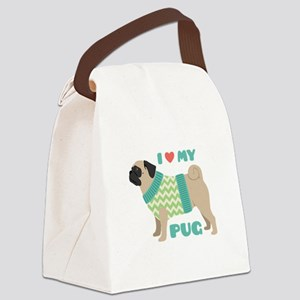 Love My Pug Canvas Lunch Bag