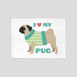 Love My Pug 5'x7'Area Rug