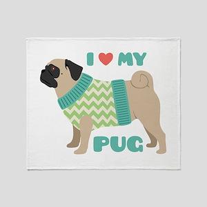 Love My Pug Throw Blanket