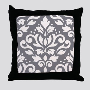 Scroll Damask XLg Ptn Crm/Grey Throw Pillow