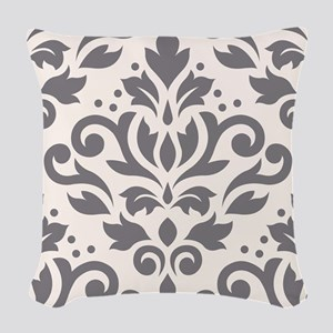 Scroll Damask Xlg Ptn Grey/crm Woven Throw Pillow