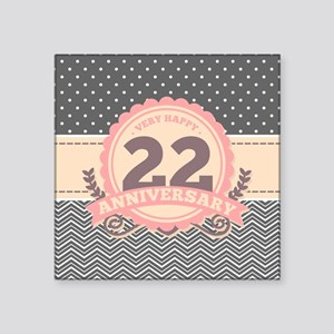 "22nd Anniversary Gift Chevr Square Sticker 3"" x 3"""