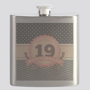 19th Anniversary Gift Chevron Dots Flask