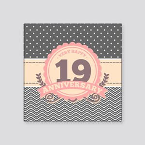 "19th Anniversary Gift Chevr Square Sticker 3"" x 3"""