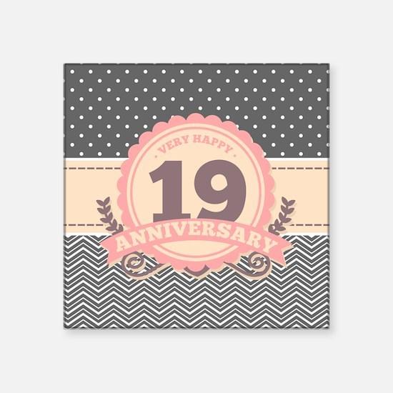 """19th Anniversary Gift Chevr Square Sticker 3"""" x 3"""""""