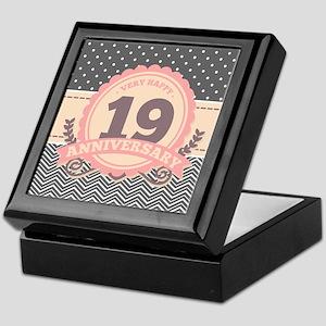 19th Anniversary Gift Chevron Dots Keepsake Box